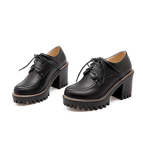 AllhqFashion Femme Lacet Pu Cuir Rond à Talon Haut Couleur Unie Chaussures Légeres Noir