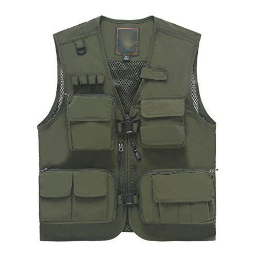 Männer Retroanglerjacke Multi Taschen Fotografie Outdoorjacke Schnell Trocknend MilitaryColor