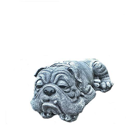 Massive Steinfigur liegende Dogge Bulldogge Hund Welpe Tierfigur frostfest