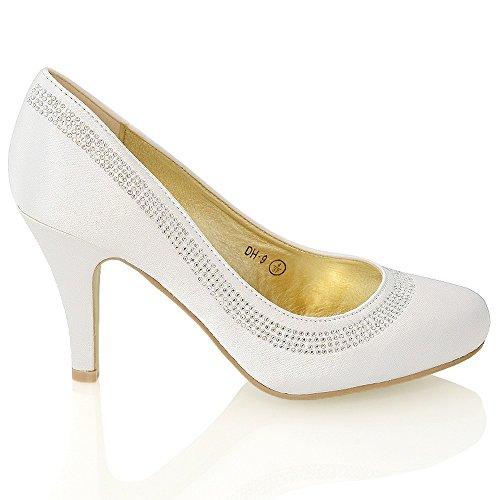 Moyenbas Glam Diamant Satin Chaussures Faux Talon Femmes Essex WqIpFF