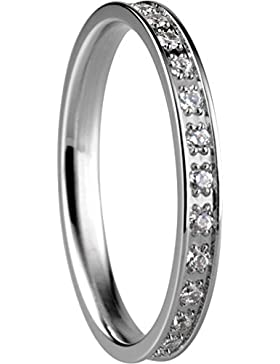 BERING Stapelring Edelstahl Zirkonia-Steinchen silber schmal Arctic Symphony Collection 556-17-X1
