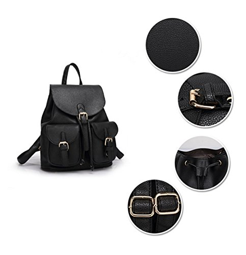 QPALZM Collegio Vento Trend Fashion PU Studenti Ms Spalle Zaino Black
