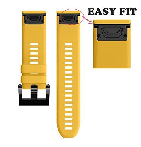 Hunpta Ersatz Silicagel Soft Quick Release Kit Band Strap für Garmin Forerunner 935 GPS Uhr (Gelb) Garmin Forerunner Quick Release
