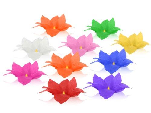 10 Stück Alsino Wasserlaternen Wasserlaterne in Form einer Lotusblüte, Schwimmlaterne, Glückslaterne, Sommerlicht, Seerosenlicht, Skylaterne, Sommerlicht