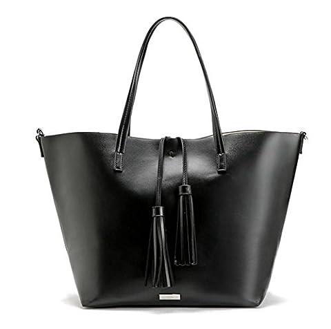 YAAGLE Damen Quaste Schultertasche Mode Ledertasche mit Größe Kapazität Handtasche