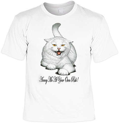 Katzen - Shirt/ T-Shirt Cat Aufdruck: Annoy me at your own risk - tolles Tiermotiv für Katzenfreunde Weiß