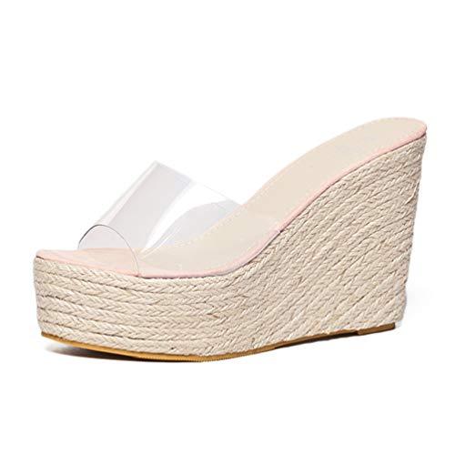 XHCHE Sommer Sandalen Plattform Keile Frauen Pantoffeln Fashion Flip Flops - Walk Sketcher Go Rosa