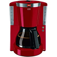 Melitta Look IV Selection, 1011-17, Filter Coffee Machine with Glass Jug, Keep Warm Function, Aroma Selector, Red/Brushed Steel