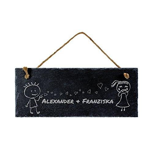 Ardesia lavagna targa - Scudo con incisione - Personalizzabile con nome - Per coppie - 25 x 10 cm