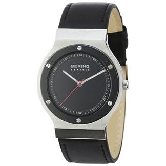 Bering Time 32538-448 – Reloj analógico de Cuarzo Unisex con Correa de Piel, Color Negro