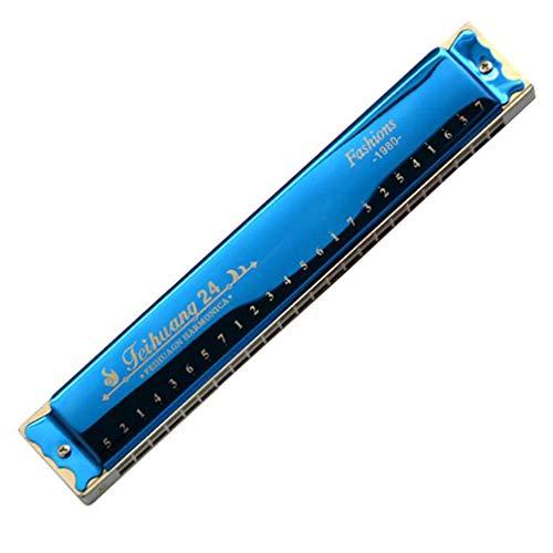 SZP 24-Loch Tremolo Harmonica, C Harmonica mit Schutzgehäuse und Reinigungsgeruch für Anfänger und Profi-Spieler,Blue