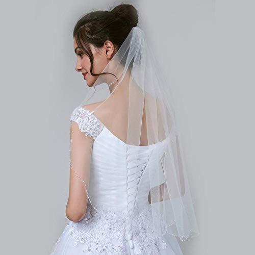 Zhige velo da sposa,smerlato velo semplice fatto a mano con perline velo nuziale matrimonio copricapo accessori
