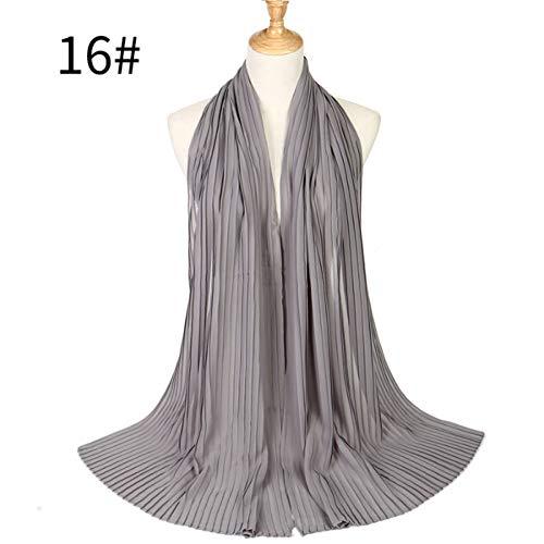 Bubble Wrap Kleid (HCJZ Schal Große Größe 90 * 180 cm Zerknittern Bubble Chiffon Schals Falten Stirnband Hijab Muslim Wraps Schals,Gray)