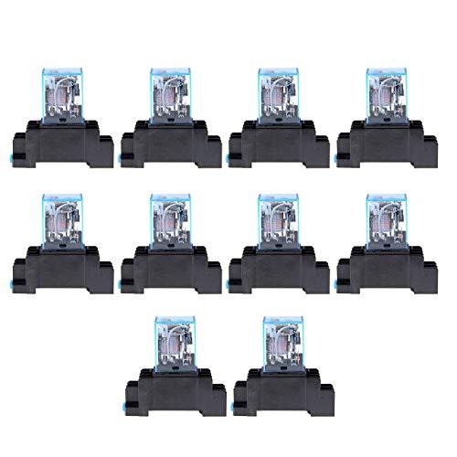 Pudincoco AC 220 V 10 STÜCKE Spule Leistungsrelais LY2NJ DPDT 8 Pin PTF08A JQX-13F Sockel Basis Elektronische Micro Mini Elektromagnetische Modul Schalter -
