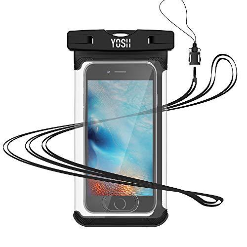YOSH wasserdichte Handyhülle Beutel mit Touch ID Tauchen Kanu Wassersport für iPhone XS/XS Max/XR/X/8/7/6 für Samsung S9/S8/S7/S6/S5/A5 Huawei, Google Pixel, LG, Xiaomi, mit Trageband