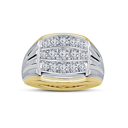Vorra Fashion Stunning taglio rotondo CZ due tono argento Sterling 925 placcato Wedding Band Ring, argento, 17,5, colore: bianco, cod. RG25627_1 - 5 Row Band Ring