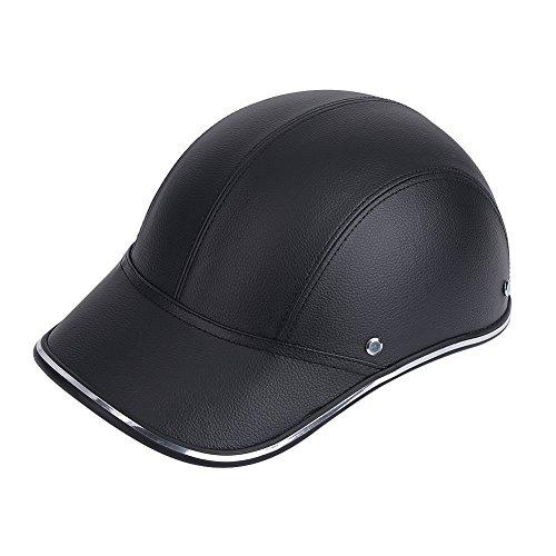 Keenso Motorradhelm Open Face halbes Cap Safety Protect Helm mit Kopfband(Schwarz)