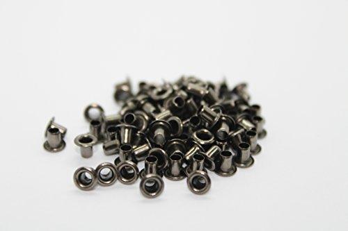 Ösen zum Nähen, Basteln, Handwerken, 2 mm, Set bestehend aus 100 Stück , metall, gun metal, 2mm (Gun Punch Set)