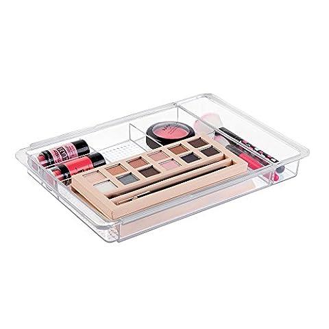 Rangement de cosmétiques extensible, mDesign, pour meuble de salle de bain, produits de beauté et maquillage - Transparent