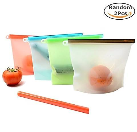 Chickwin 2PCS Silikon-Lebensmittel Aufbewahrungstasche Kochbeutel Wiederverwendbare Vielseitige 100% auslaufsicher Vakuum Konservierung Tasche für Obst Gemüse Fleisch Food Grade Silikon (Zufällige 2pcs)