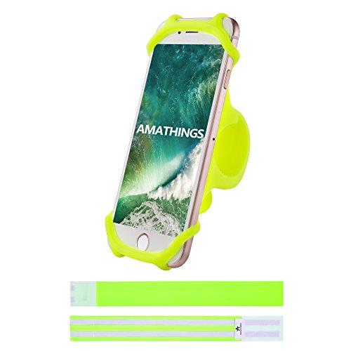 AMATHINGS Stablier Fahrrad-Smartphonehalter In Gelb Und 2 Reflektierende Hosenschutz-Bänder Auto-Lenkrad-Halter Für Smartphones Bis 5,5'