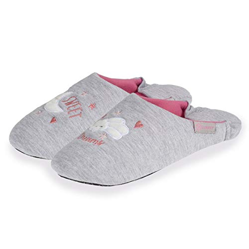 Isotoner Chaussons Babouches Femme Broderie Nuage,Gris,37/38 EU