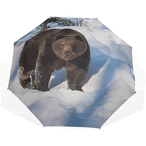 Ombrello da viaggio orso bruno che cammina nella neve 3 piega ombrelli artistici ombrello da viaggio ombrello da viaggio ombrello pieghevole