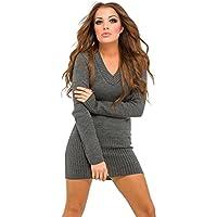 Glamour Empire. Donna maglia pullover lungo con cappuccio e scollo