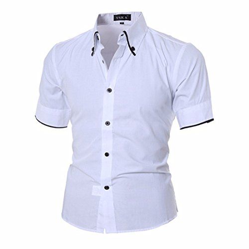 Men's Solid Cargo Short Sleeve Shirts Slim Fit Shirts white