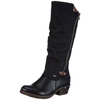 Rieker 93655 Damen Langschaft Stiefel, schwarz (schwarz/schwarz/kastanie/00), 40