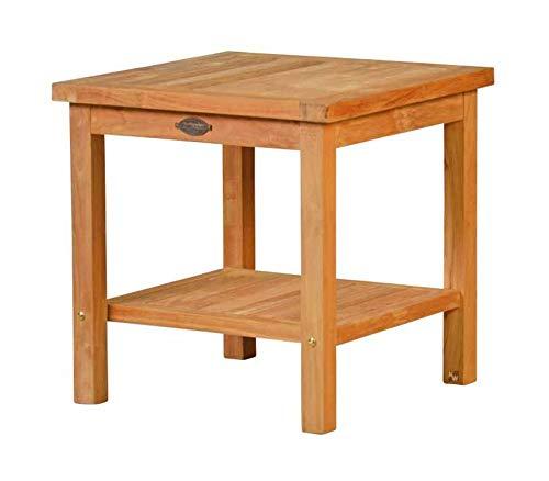 Cuneo 2 Ebenen Teakholz Beistelltisch, 50x50cm ✓ Wetterfest ✓ Nachhaltig ✓ Robust | Hochwertiger Abstelltisch aus Massivholz für draußen | Teak-Tisch für Terrasse, Balkon & Garten aus Plantagenholz -