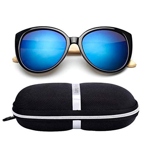 Taiyangcheng Bambus Holzbeine Sonnenbrillen Mit Fall Frauen Cat Eye Brille Männer Übergroßes Fahren,Schwarz Blau
