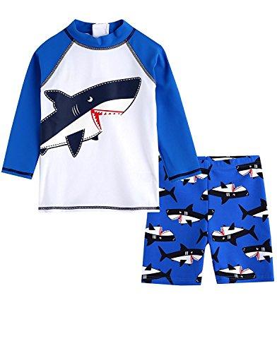 LOSORN ZPY Junge Kinder Badebekleidung BadeshortsHai Schwimmen Set Sport Badeanzug (M: 105-115cm, Blau)