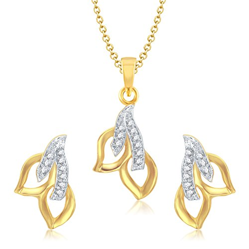 VK Jewels Two Leaf Gold and Rhodium plated Pendant set with Earrings for Women - PS1036G [VKPS1036G]  available at amazon for Rs.291