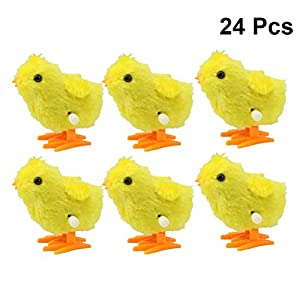 YeahiBaby Wind up Küken Tiere Uhrwerk Spielzeug für Plüsch Tiere Geschenk 24 Stücke (Gelb)
