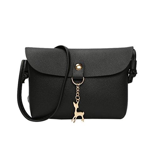 Yuncai Mode Damen Kleine Umhängetasche Schultertasche Mit Reh Anhänger Elegant Mini Handtaschen Schwarz