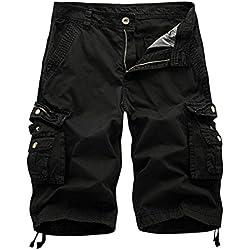 Solike Homme Militaire Short de Loisir Travail Casual Shorts Bermudas Cargo Salopette Outdoor Casual Lâche avec Poches Short de Sport Coton (FR 38(Taille Fabricants 30), Noir)