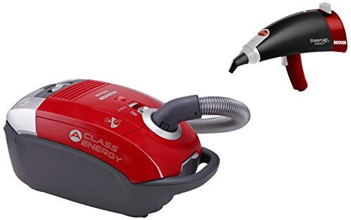 Hoover AT70 ATSG011 + SSNH1300 Pack Aspirador Clase Energética A + Pistola de Vapor con Autonomía Ilimitada, 5 litros, Rojo