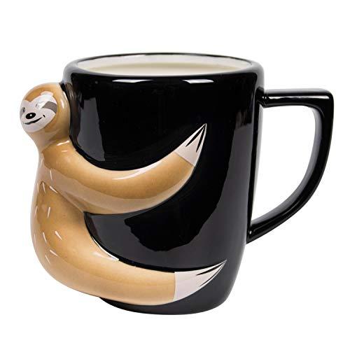 el & groove Sloth Copa 3D Negra Hecha de Porcelana, Copa Sloth para Perezosos y dormilones, Idea para Regalo