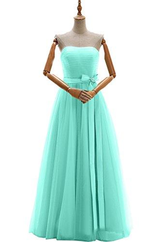 Gorgeous Bride Elegant Traegerlos A-Linie Satin Tuell Lang Abendkleider Brautjungfernkleid Festkleider Mintgruen