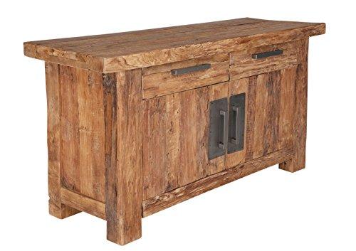 SalesFever Kommode aus recyceltem Teak-Holz mit 2 Schubladen und 2 Holztüren 125x78 cm | Laroc | Rustikales Low-Board Natur im Angesagten Shabby Look 2-türig 125cm x78cm