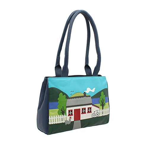 Mala COTTAGE Pelle Leather Collection Borsa a tracolla 7115_91 Blu Blue