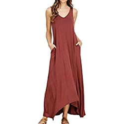 Vestidos Elegantes Mujer Moda 2018,Sonnena ??? Vestido Maxi Largo Hippie Boho Mujer Verano para cóctel Fiesta Playa (S, Rojo-2)