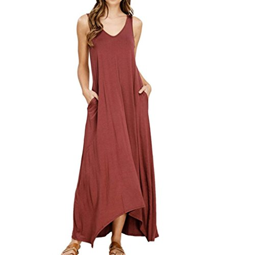 Vestidos Elegantes Mujer Moda 2018,Sonnena Vestido Maxi Largo Hippie Boho Mujer Verano para cóctel Fiesta Playa (S, Rojo-2)
