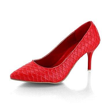 Comfort PU Sandali estate delle donne casuali Zeppa Rosso Grigio Nero Walking US6.5-7 / EU37 / UK4.5-5 / CN37