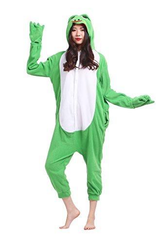 Magicmode Unisex Cosplay Kostüme Kigurumi Tiere Schlafanzug Erwachsene Strampelanzug Anime Hoodie Nachtwäsche Frosch (Frosch Hoodie Kostüm)