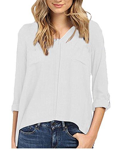 Auxo Damen V-Ausschnitt 3/4 Arm Lose Party Club Slim Oversize Langshirt T-Shirt Tops Weiß