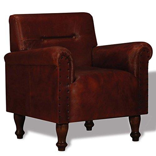 mewmewcat Echtleder Vintage Sessel Ledersessel Loungesessel Braun 69 x 55 x 75 cm