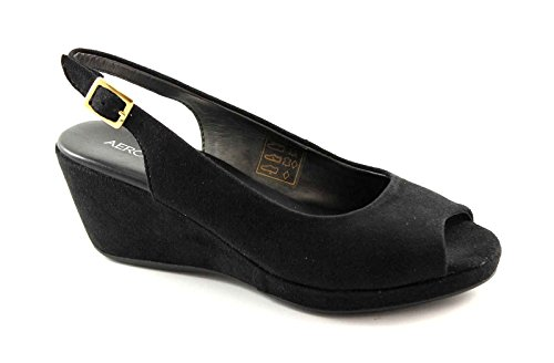 AEROSOLES WILLKOMMEN schwarze Schuhe Frau Sandalen Gehkomfort Nero