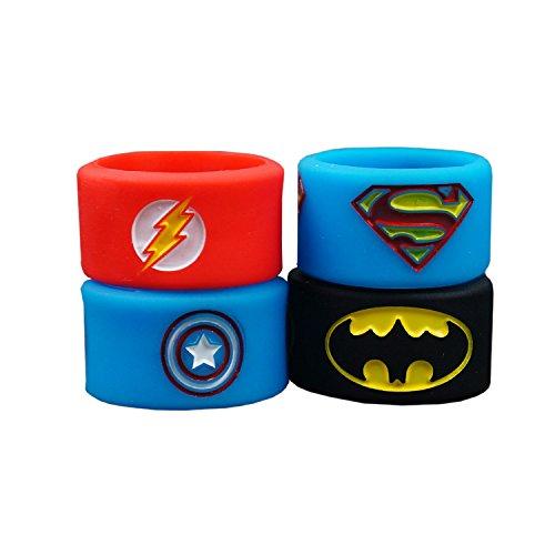 Superheroes vape bands, Gedruckt und Tiefgeprägt logo. Batman, Flash, Captain America, Superman - authentisch VampCase (4 Stück/Jeweils 1 Stück)